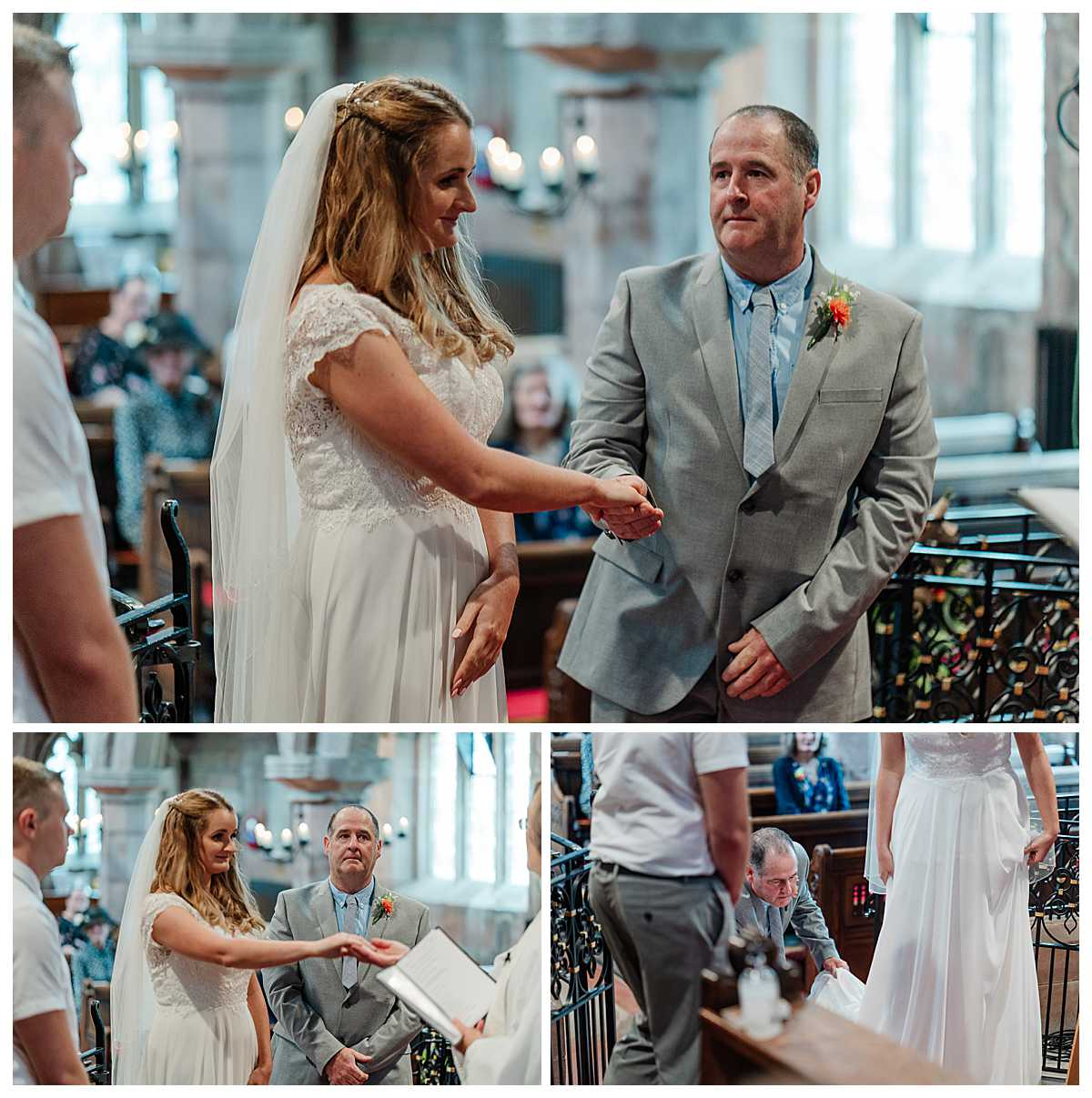 emotional dad handing over his daughters hand to the groom, marbury church shropshire