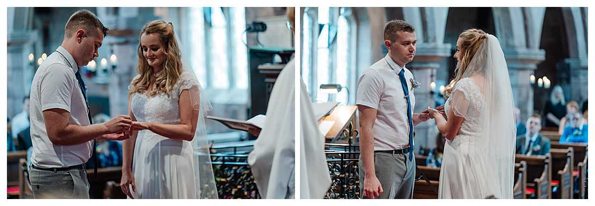 bride and groom exchanging wedding rings at marbury church whitchurch shropshire. Charlotte Giddings Photography