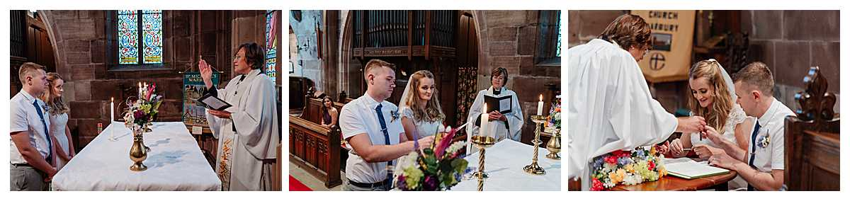 bride and groom lighting wedding candle at marbury church, whitchurch, shropshire - wedding photographer shropshire