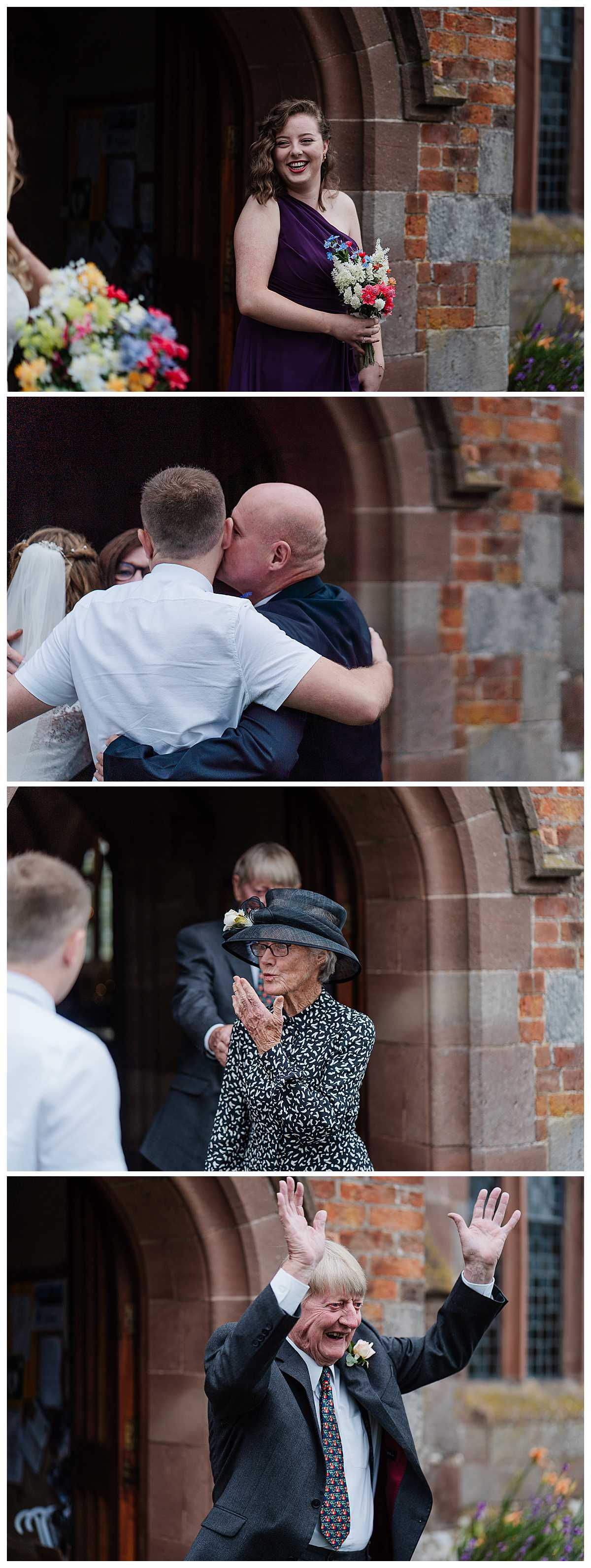 wedding guests waving and blowing kisses to the happy couple as they come out of church, social distancing