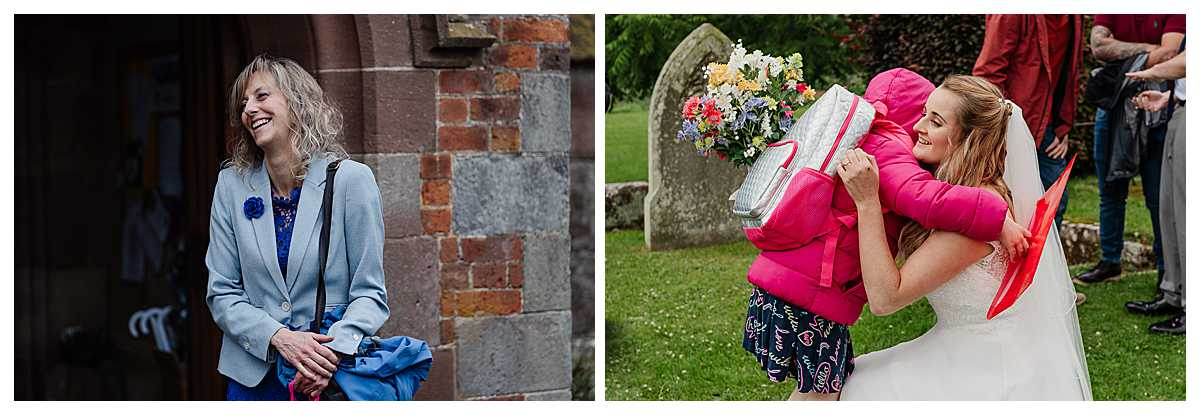 bride exchanging a cuddle with her niece after she got married at marbury church whitchurch shropshire