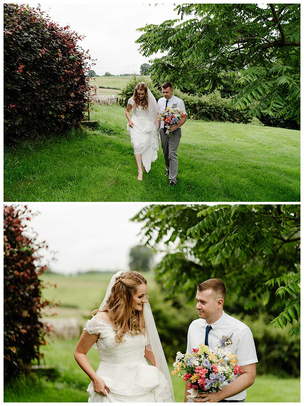 bride and groom walking through the field at marbury church whitchurch