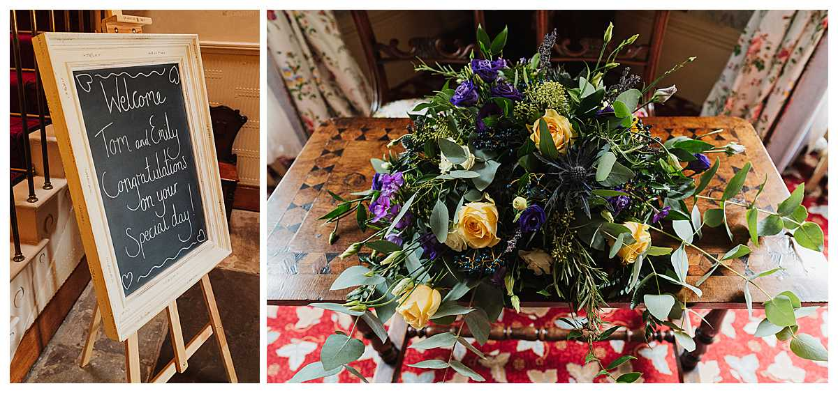 welcome board and purple/orange floral arrangement sat in the entrance of elizabeth gaskell's house