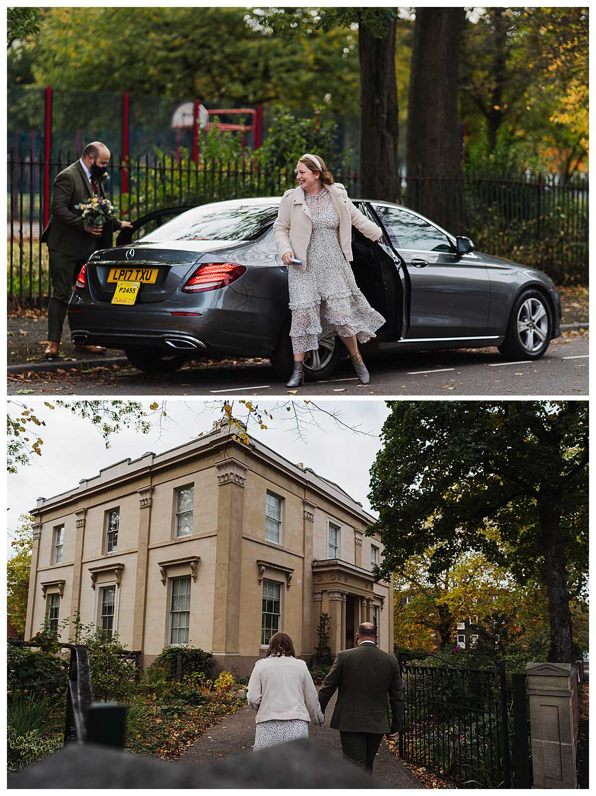 very happy bride arriving by taxi at elizabeth gaskell's house - charlotte giddings photography and walking up the drive to the house