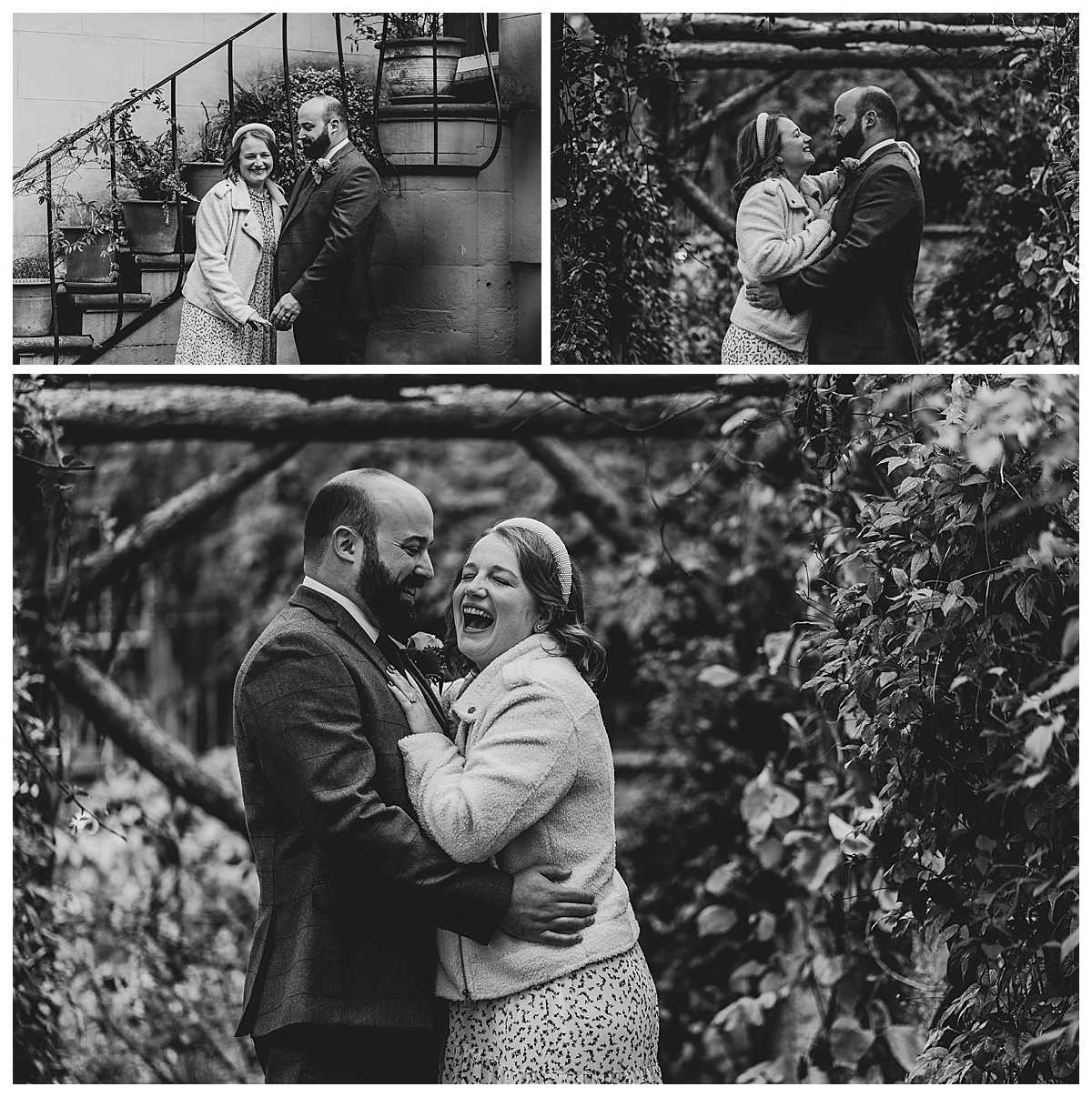 bride and groom, cuddling in the grounds of elizabeth gaskells house and having a giggle before they get married