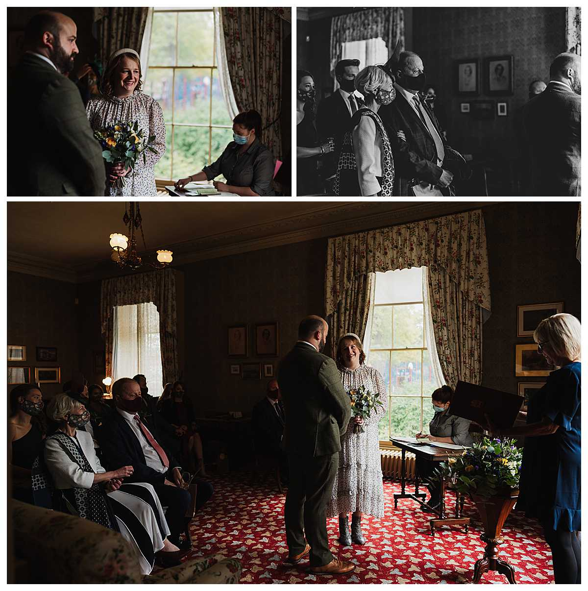 micro wedding ceremony with facemasks at elizabeth gaskells house