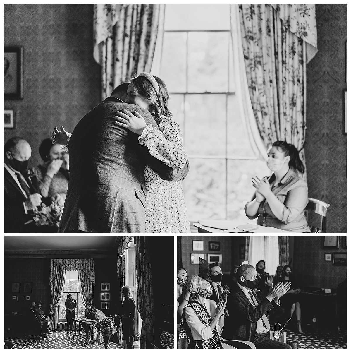 bride and groom having a cuddle at the end of the ceremony and a round of applause from family