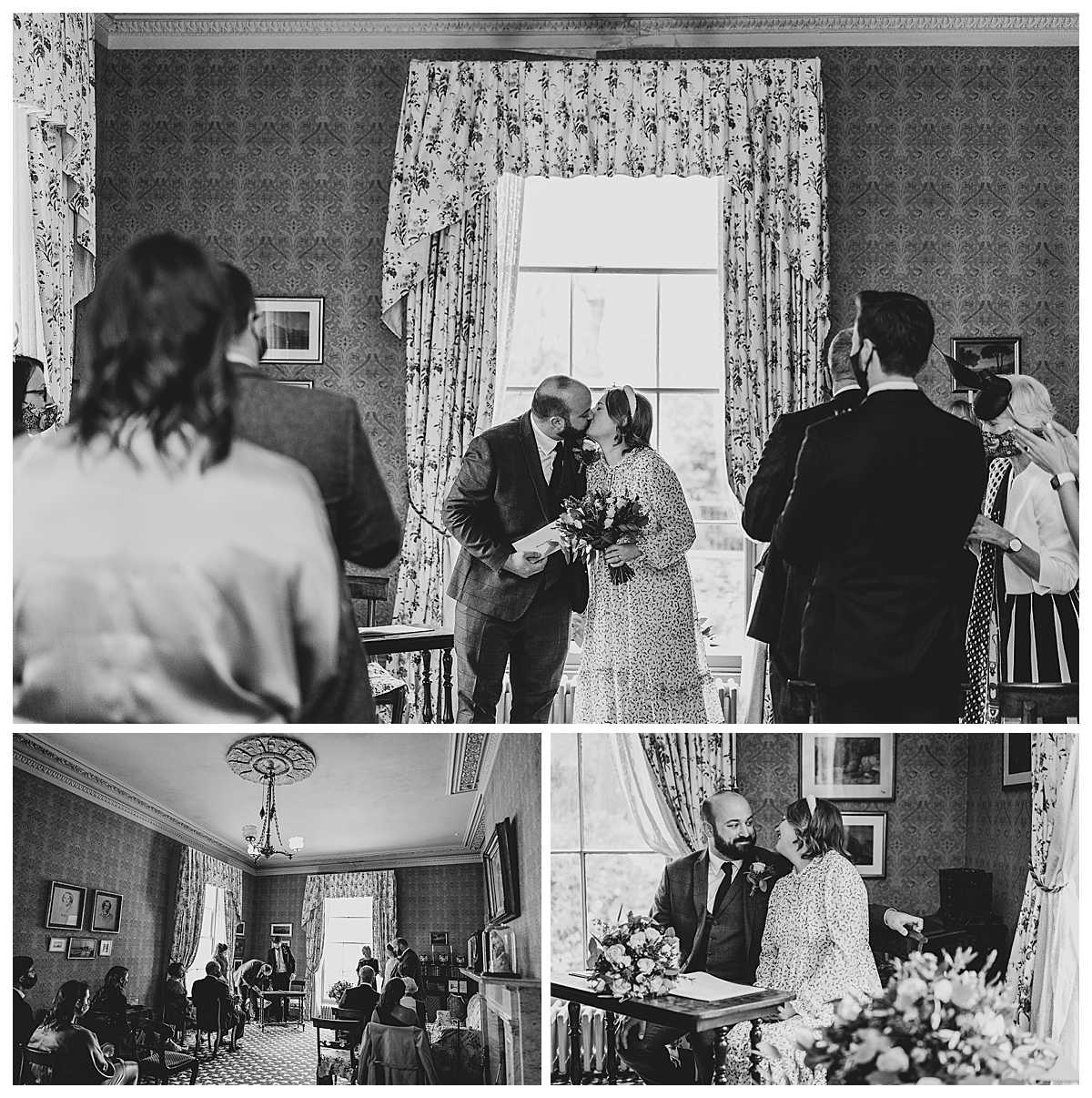 bride and groom having a kiss at the top of the aisle at elizabeth gaskells house, manchester, charlotte giddings photography