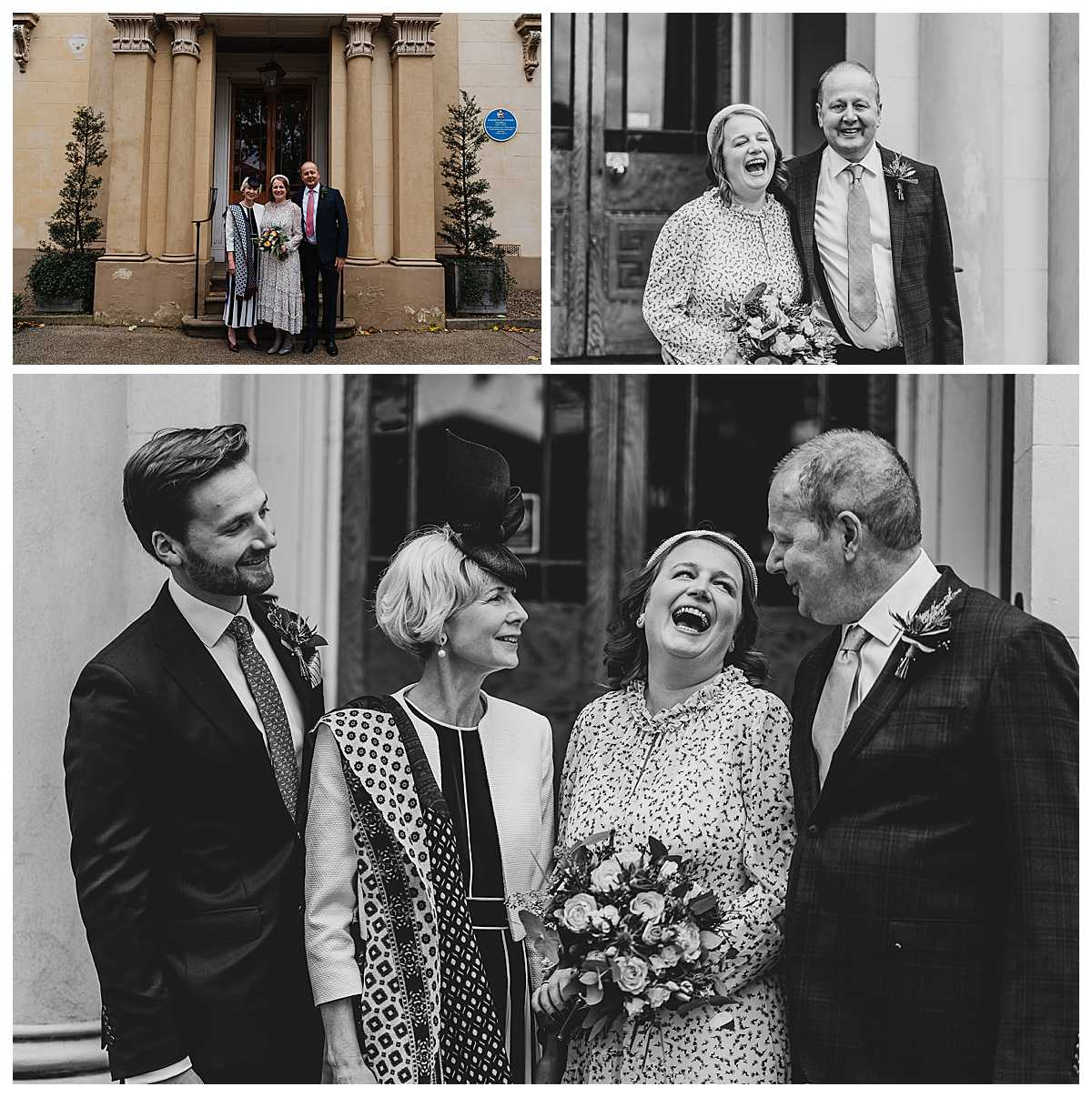 family photos - bride having a giggle with her terminally ill dad at elizabeth gaskells house