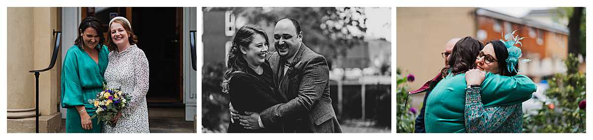 other guests having a giggling and embracing outside in the grounds of elizabeth gaskells house, charlotte giddings photography