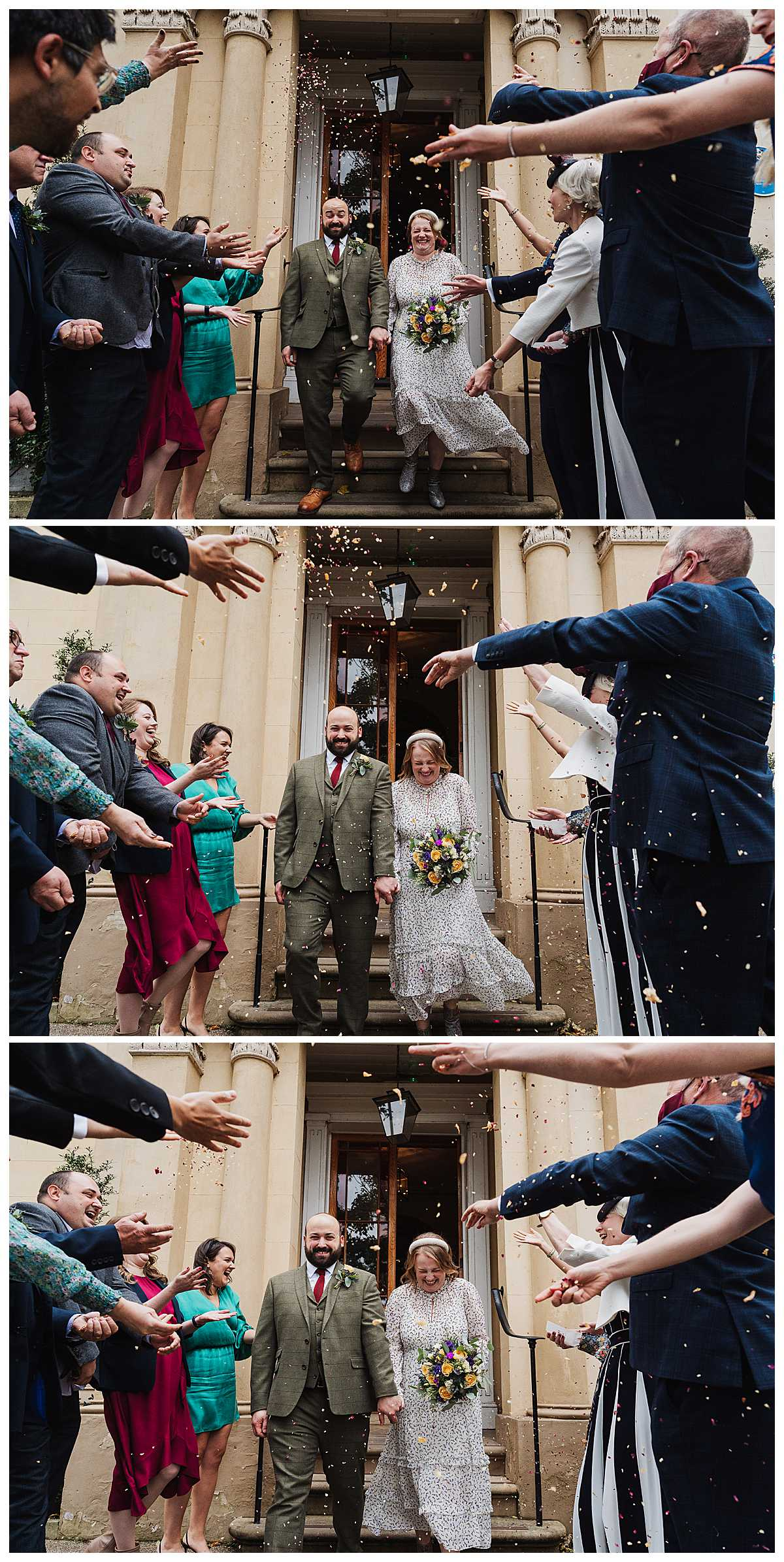 confetti explosion over the bride and groom outside manchester wedding venue, charlotte giddings photography